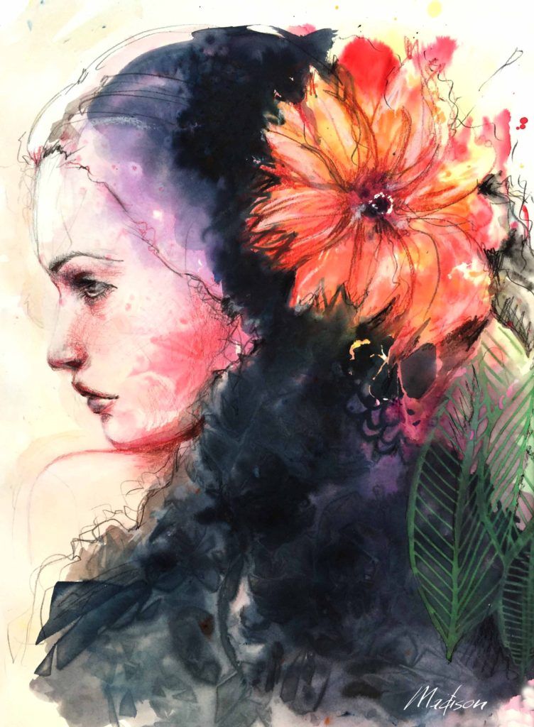 Girl with flower in her hair, black hair, wedding hair, wedding art, red, blue, yellow art, painting, women, fashion illustration, top ten fashion illustrators, fashion illustration, megan hess