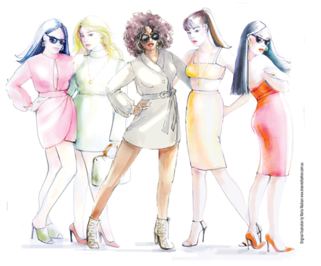 Sydney fashion illustrator Marta Madison's placecard illustration for the Boo Hoo Curvy launch 2019