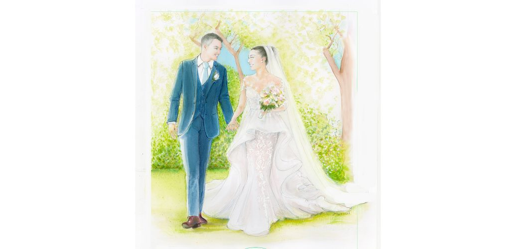 Sydney bridal illustrator Marta Madison, bridal dress, green, white, gown, tress, wedding venue,bridal portrait, wedding gown, bridal gift, wedding gift, bridal art, wedding day, wedding illustrations, bride and groom