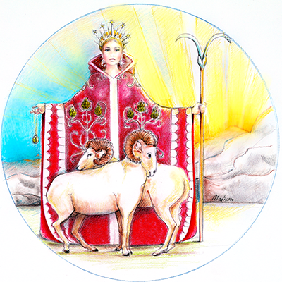 Aries guarding her rams, red coat, sunset, astrology, zodiac women, black hair, wedding hair, wedding art, red, blue, yellow art, painting, women, fashion illustration, top ten fashion illustrators, Sydney fashion illustrator, fashion illustration, megan hess