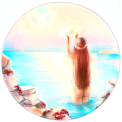 Cancer in the moonlight with crabs, red hair astrology, zodiac women, black hair, wedding hair, wedding art, red, blue, yellow art, painting, women, fashion illustration, top ten fashion illustrators, Sydney fashion illustrator, fashion illustration, megan hess