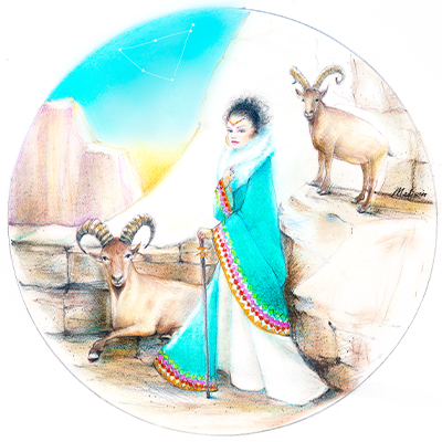 Capricorn with her faithful goats in a mountain setting, astrology, zodiac women, black hair, wedding hair, wedding art, red, blue, yellow art, painting, women, fashion illustration, top ten fashion illustrators, Sydney fashion illustrator, fashion illustration, megan hess