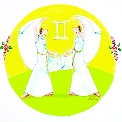 Gemini twins dancing with white veils, astrology, zodiac women, black hair, wedding hair, wedding art, red, blue, yellow art, painting, women, fashion illustration, top ten fashion illustrators, Sydney fashion illustrator, fashion illustration, megan hess
