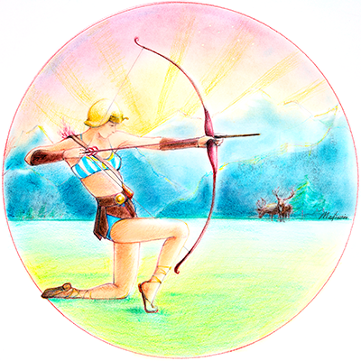Sagitarius taking aim in the forest with bow and arrow, astrology, zodiac women, black hair, wedding hair, wedding art, red, blue, yellow art, painting, women, fashion illustration, top ten fashion illustrators, Sydney fashion illustrator, fashion illustration, megan hess