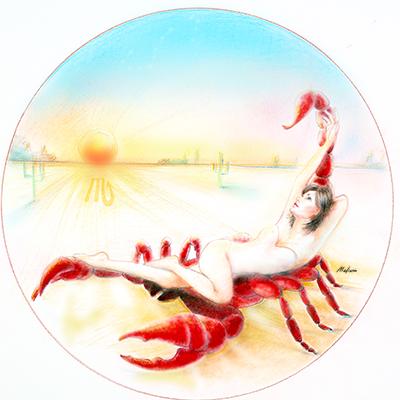 Scorpio atop her scorpion friend, desert, sunset, red claw, astrology, zodiac women, black hair, wedding hair, wedding art, red, blue, yellow art, painting, women, fashion illustration, top ten fashion illustrators, Sydney fashion illustrator, fashion illustration, megan hess, one of Sydney-based fashion illustrator Marta Madison series of Zodiac Women