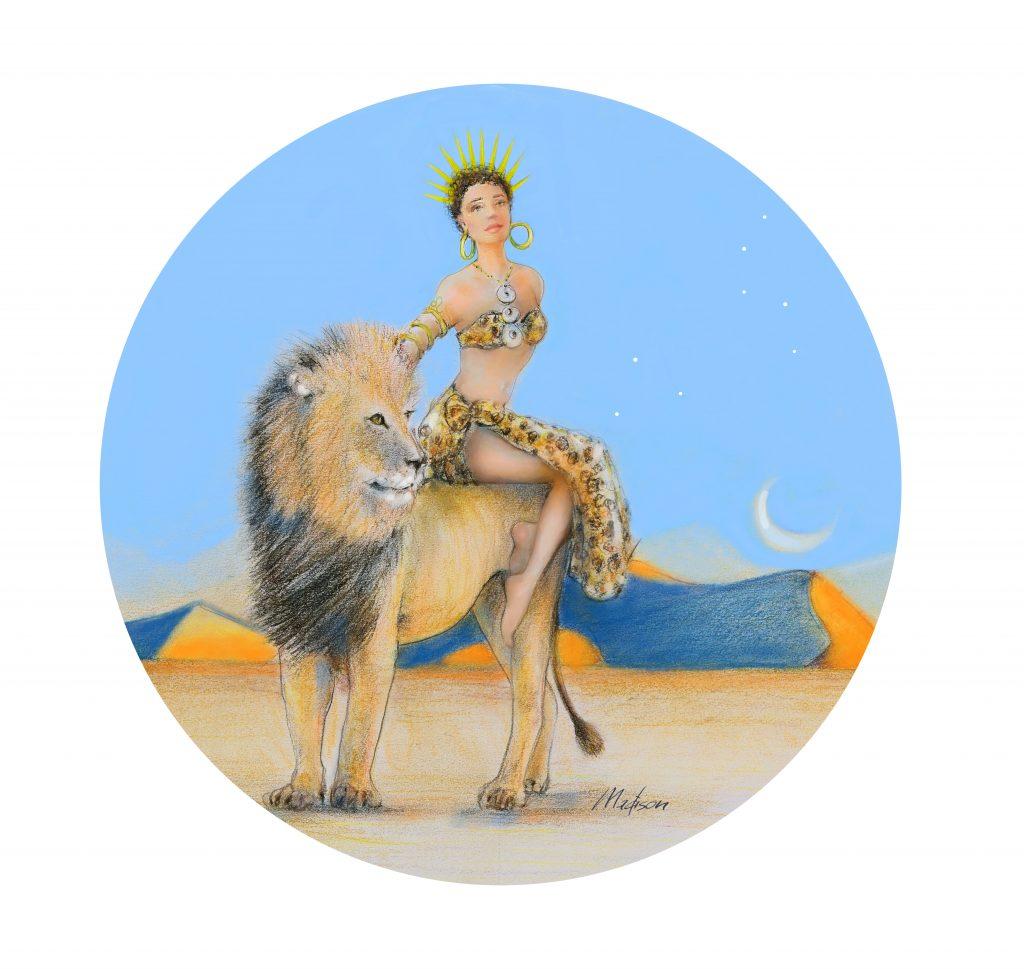 Leo astride her trusty lion companion, astrology, zodiac women, black hair, wedding hair, wedding art, red, blue, yellow art, painting, women, fashion illustration, top ten fashion illustrators, Sydney fashion illustrator, fashion illustration, megan hess
