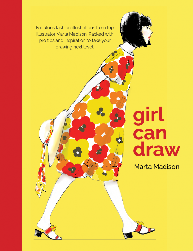 Book Fashion illustration, yellow, red, dress, Marta Madison